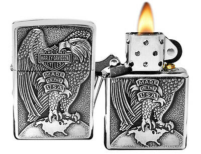 Zippo 200HD.H231 Harley Davidson USA Eagle & Globe Brushed Chrome Lighter New