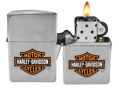 Zippo Lighter 200HD.H252 Brushed Chrome Harley Davidson Logo Classic NEW