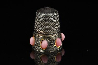 Antique 935 Silver Thimble pink decorations