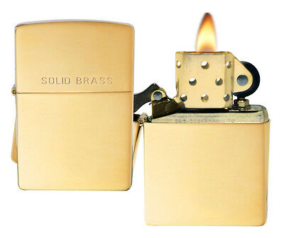 Zippo Lighter 254 Solid Brass High Polish Windproof Classic NEW