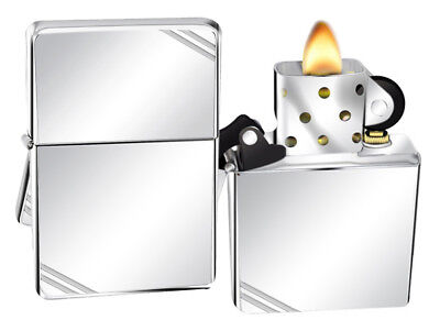 Zippo Lighter 260 Vintage Series 1937 With Slashes High Polish Chrome NEW