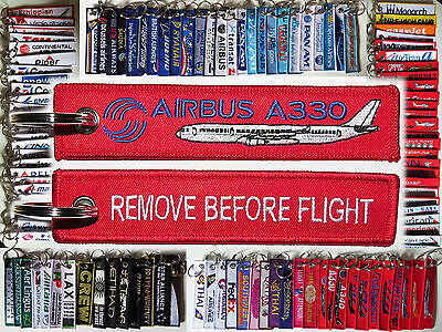 Keyring AIRBUS A330 in red Remove Before Flight keychain for pilot crew