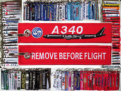 Keyring AIRBUS A340 in red Remove Before Flight keychain for pilot crew