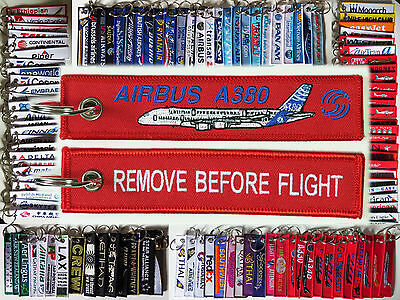 Keyring AIRBUS A380 in Red Remove Before Flight keychain for pilot crew