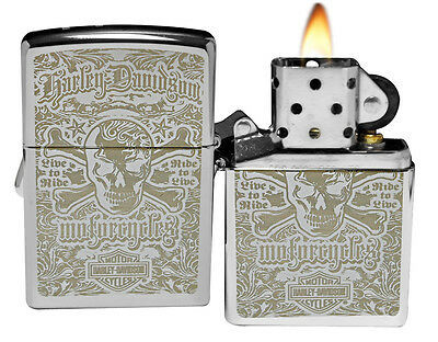 Zippo Lighter 28229 Harley Davidson Skull High Polish Chrome NEW