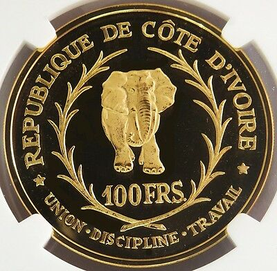 1966 Gold Ivory Coast 100 Francs Ngc Proof 69 Ultra Cameo Only 2,000 Minted