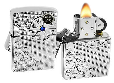 Zippo 28809 Armor Nautical Wave Deep Carved High Polish Chrome Windproof Lighter