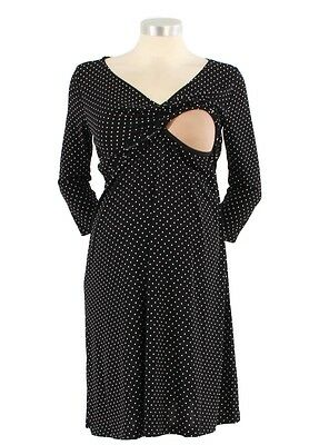 Japanese Weekend 3/4 Sleeve V-Neck Surplice Nursing Dress - Dot - Size XS ( 0-2)