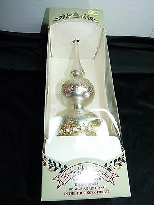"""Krebs Silver Hand Blown 13"""" Glass Lauscha Christmas Tree Topper New in Box"""