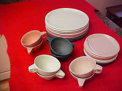 Boonton Ware-24 Pc Set-Cups, Dessert Plates&dinner Plates-Rose,gray,dk Gree&mint