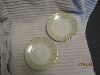Vintage Shenango China Pottery Dessert or Salad Plate Set of 2 Green + Tan NICE
