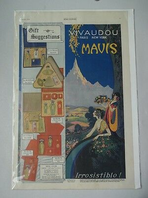 1920 Vivaudou Mavis Perfume Ad Page Painted by Fred Packer Ladies Home Journal