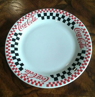 """coca cola checkered 10 1/2""""  dinner plate 1996 by gibson"""