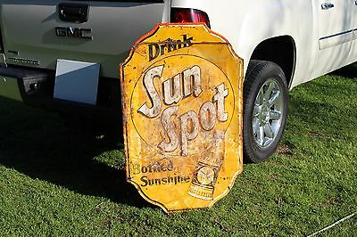 Rare Large 1938 Sun Spot Orange Soda Pop Embossed Metal Sign Crush Coke Texas