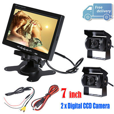 "Car Rear View Kit for 12V Bus Truck 7"" Color LCD Monitor+ 2x IR Reversing Camera"