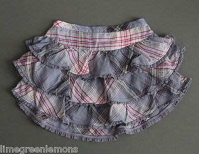 NWT Baby Gap GIRL Sable Island Blue Pink Plaid Ruffle Tiered Skirt 18 24 months