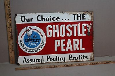 RARE 1940's GHOSTLEY PEARL POULTRY CHICKEN FEED EMBOSSED METAL SIGN ROOSTER
