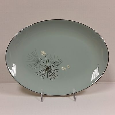 Franciscan Silver Pine 12.5 inch Oval Serving Platter Aqua Pine Cones Starburst