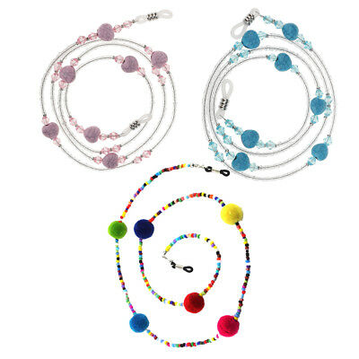 3pcs Reading Glasses Neck Strap Sunglasses Eyeglass Beaded Chain Necklace