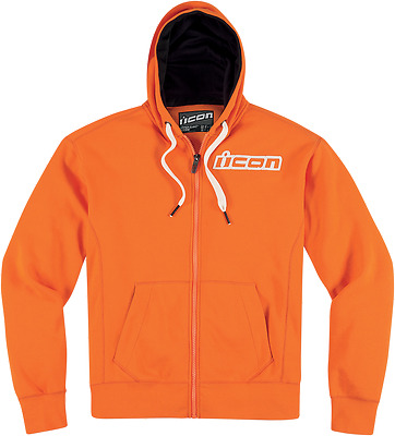 Mens Icon Orange Upper Slant Zip Up Cotton Fleece Motorcycle Hooded Sweatshirt