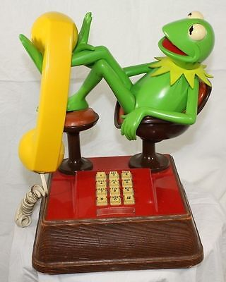 Kermit the Frog Vintage Phone1983 Jim Henson Muppets Working Cond Push Button
