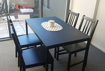 Ikea dining table and 4 chairs black aud for Dining table set ikea usa
