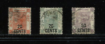 G160  Hong Kong 1885/91 Queen Victoria SURCHARGED SHORT SET  3v.  used