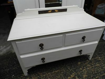 Antique chest of drawers / dressing table, with mother of pearl bird design !