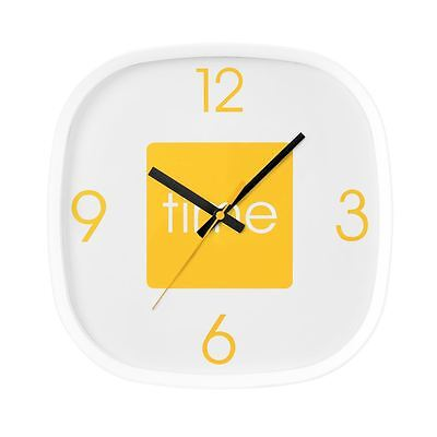 Arco Wall Clock | Curved Square Design | White with Yellow Detail & Black Hand