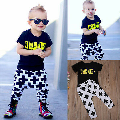 Summer 2PCS Infant Kid Baby Boy Casual T-shirt+pants Bottom Outfits Sets Costume