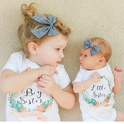 Cute Kids Girls Shirt Printing Tops Soft Shirt Short Sleeves Big & Little Sister