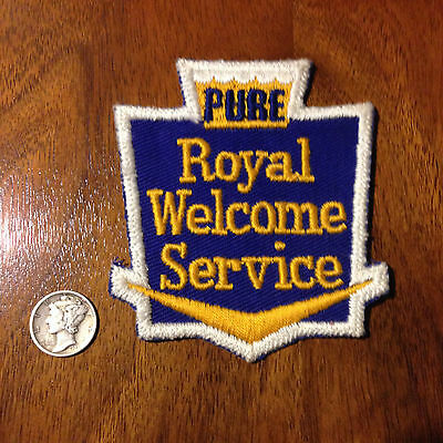 Vintage Pure Oil & Gasoline Company Royal Welcome Service Advertising Patch