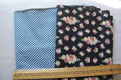 "Vtg 40's Cotton  Dress or Quilt fabric 36"" Wide LOT OF TWO"