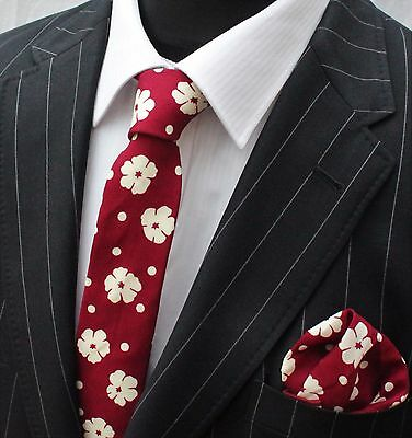 Tie Neck tie with Handkerchief Slim Red with Cream Floral Quality Cotton MTC07