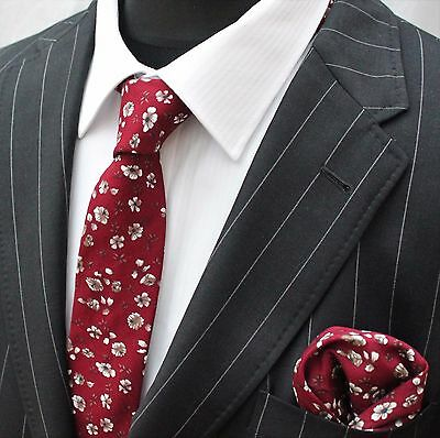 Tie Neck tie with Handkerchief Slim Red with white floral Quality Cotton MTC13