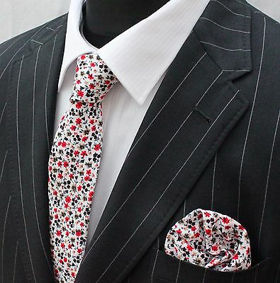 Tie Neck tie with Handkerchief Slim White Multi floral Quality Cotton MTC15