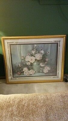 """Home Interior Pink Roses Picture green back round (32""""x 27"""")"""