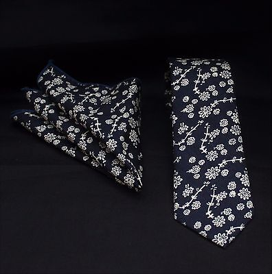 Tie Neck tie with Handkerchief Slim Navy Blue With Floral  Quality Cotton MTC17