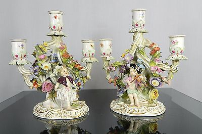 1850-1899 Multi-Color Pair of Meissen Porcelain Candelabra with Cherubs Germany