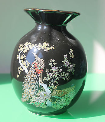 Vintage Chinese Black & Gilt Pottery Vase Depicting a Peacock 18cm c.1970