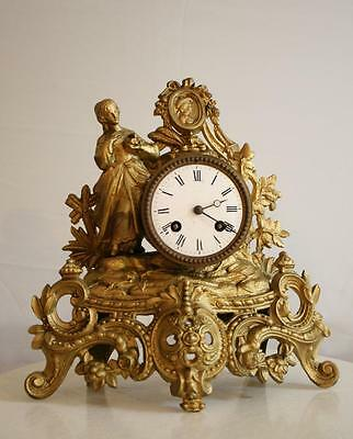 ANTIQUE 1860 FRENCH  CLOCK GRACIEUS STATUE Woman in Love Romantic