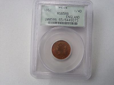 Great Britain 1 Farthing 1861 PCGS.MS65 RB .Victoria.200586 65/6449373.