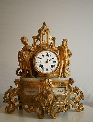 ANTIQUE 1860 FRENCH  CLOCK  Gilt  Spelter Alabaster ROMANTIC Marriage proposal