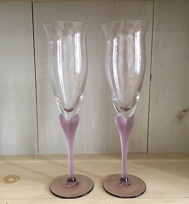 "2 Mikasa Sea Mist/Amethyst/Frosted Champagne Flutes Goblets Glass 9.5"" Tall/EUC"