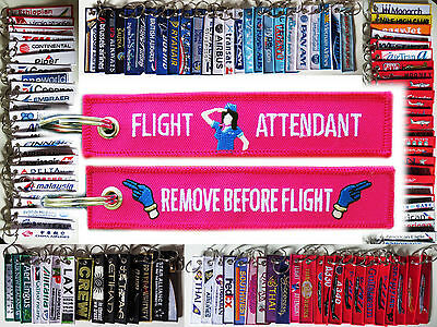 Keyring Flight Attendant PINK/ WHITE Figure stewardess Remove Before Flight tag