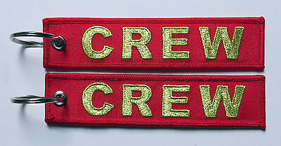 Keyring CREW in RED with Golden Letters for Pilot Flight Attendant Aircrew