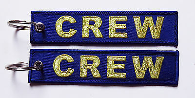 Keyring CREW in BLUE with GOLD Letters for Pilot Flight Attendant baggage tag