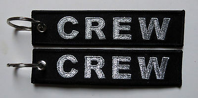 Keyring CREW in BLACK with SILVER Letters for Pilot Flight Attendant baggage tag