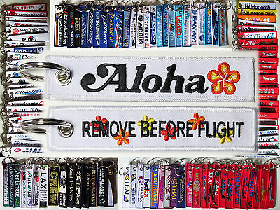 Keyring ALOHA Hawaii Remove Before Flight baggage tag label keychain