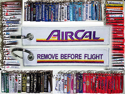 Keyring AIR CAL California Remove Before Flight baggage tag label keychain